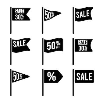 Set of flag icons for sale concept illustration
