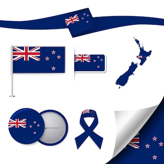 Set of flag with elements new zealand