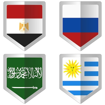 Set of flag for world cup soccer