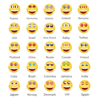 Set of flags of different countries.smiling faces.