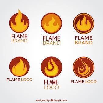Set of flame logos in orange and yellow tones