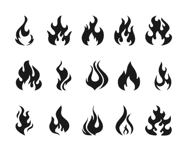 さまざまな形の炎を設定します。熱い炎の要素のコレクション。危険の概念またはロゴデザイン