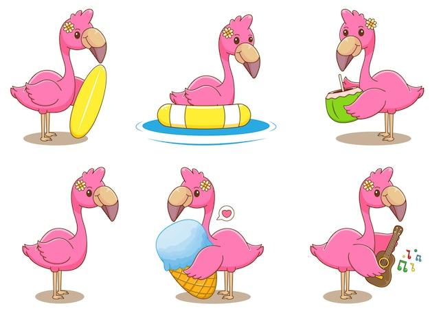Set of flamingo summer concept cartoon illustration