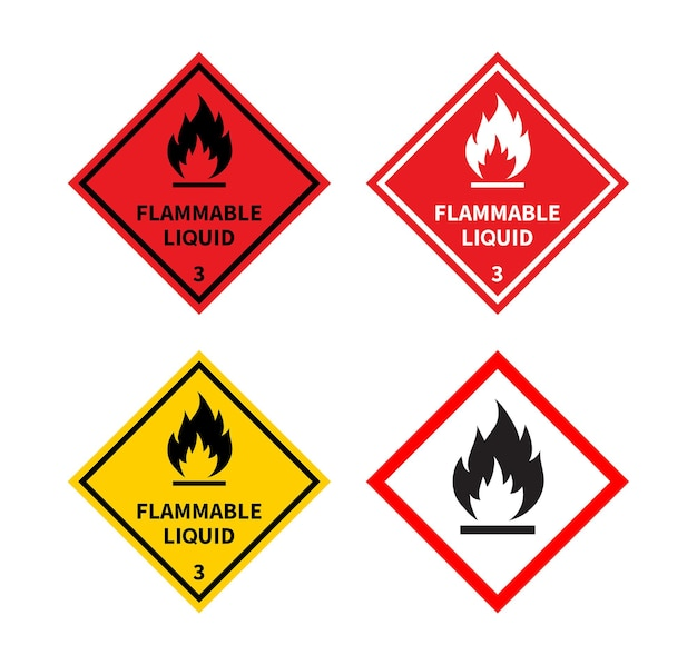 Set of flammable liquid sign on white background danger sign
