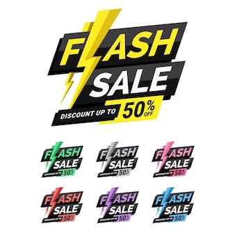 Set of flash sale discount sticker template with lightning illustration perfect for boost your product promotion sales, perfect for your design promotion needs