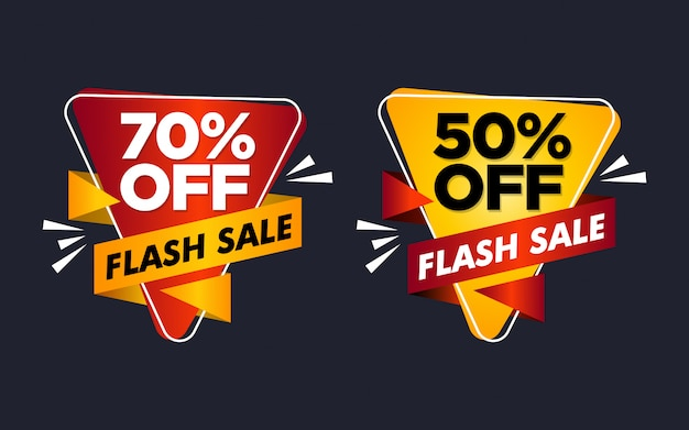 Set of flash sale sticker template
