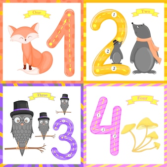 Set flashcard number tracing learning to count learning