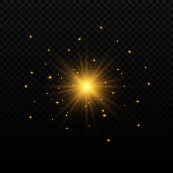Set of flashes, lights and sparkles. bright gold flashes and glares. abstract golden lights isolated bright rays of light. glowing lines