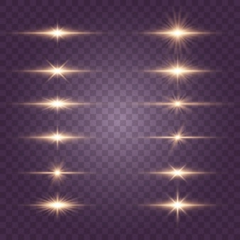Set of flashes, lights and sparkles. bright gold flashes and glares. abstract golden lights isolated  bright rays of light.