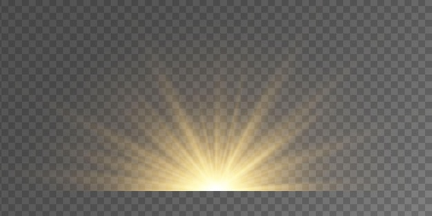 Set of flashes, lights and sparkles on a transparent background. bright gold flashes and glares. abstract golden lights isolated  bright rays of light. glowing lines.  illustration