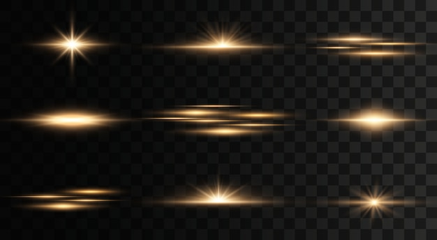 Set of flashes, lights and sparkles on a transparent background. bright gold flashes and glares. abstract golden lights isolated. bright rays of light.