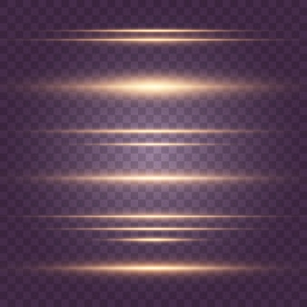 Set of flashes, lights, sparkles on transparent background. bright gold  glares. abstract golden lights isolated. yellow horizontal lens flares pack. laser beams, horizontal light rays, lines.