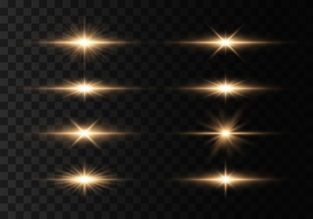 Set of flashes, lights and sparkles on a transparent background. bright rays of light. glowing lines.