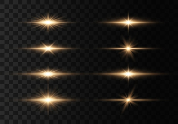 Set of flashes, lights and sparkles