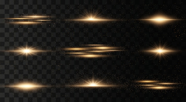 Set of flashes, lights on a transparent background. bright gold flashes and glares. abstract golden lights isolated. bright rays of light.