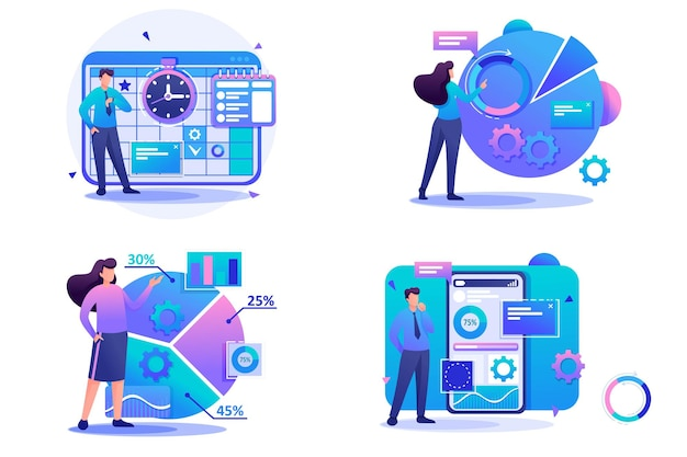 플랫 2d 개념 재무 분석, 데이터 수집 응용 프로그램, 사업 계획을 설정합니다. 웹 디자인을 위한 개념입니다.