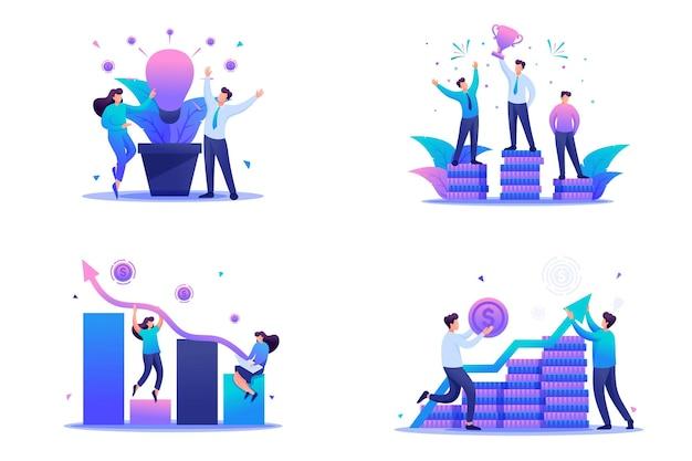 플랫 2d 개념을 설정하면 수입, 비즈니스 성공, 투자가 증가합니다. 웹 디자인을 위한 개념입니다.