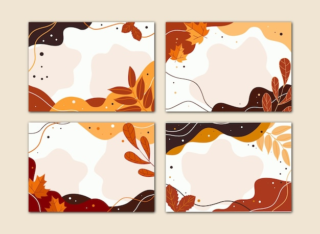 A set of flat autumn banners with foliage. vector illustration.