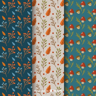 Set of flat autumn patterns