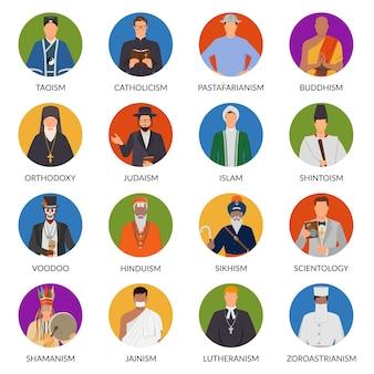 Set di avatar piatti di persone di religioni del mondo tra cui shintoismo, cristianesimo, vudù, ebraismo