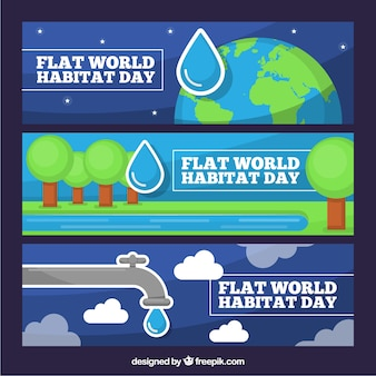 Set of flat banners to celebrate the world habitat day