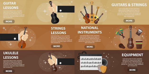 Set of flat banners of music shop for websites. concept of guitar lessons and musical instruments market. collection of musical strings instruments in flat design.