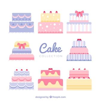 Set di torte di compleanno piatte