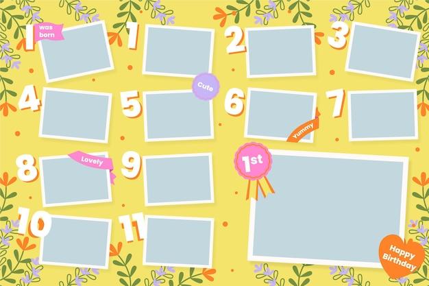 Set of flat birthday collage frame