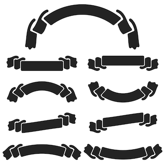 A set of flat black isolated silhouettes of strips of banners