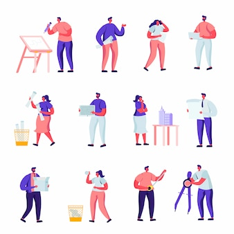 Set of flat building, design and engineering workers characters