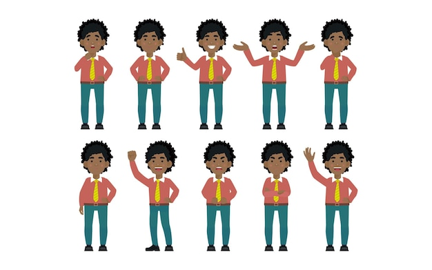 Set of flat business people with different emotions