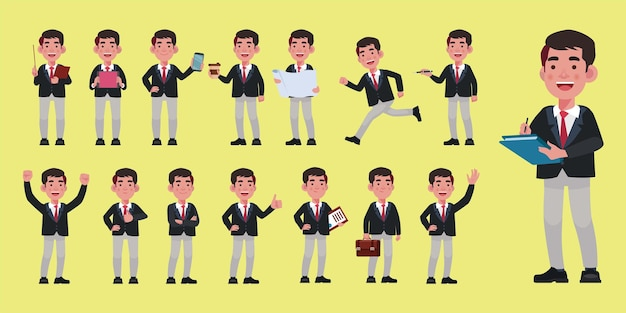 Set of flat business people with different poses