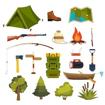 Set di elementi da campeggio piatti per creare badge, loghi, etichette, poster, ecc.
