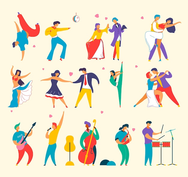 Set of flat cartoon characters people playing music, dancing ,man woman