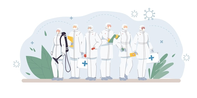 Set of flat cartoon doctor characters and nurses in uniform illustration