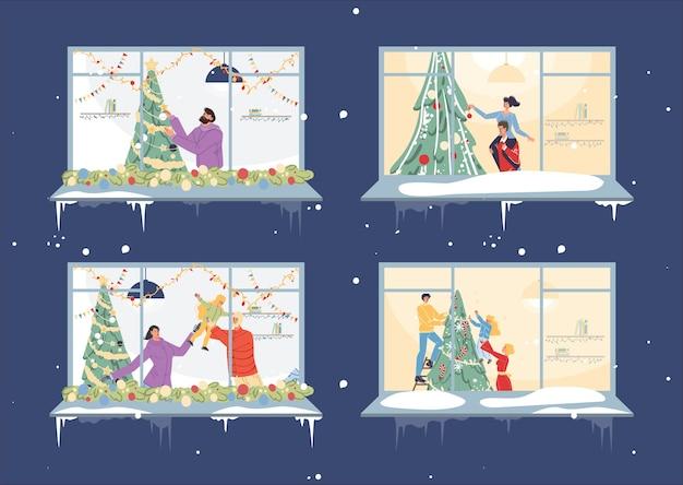 Set of flat cartoon family characters happily decorating christmas tree