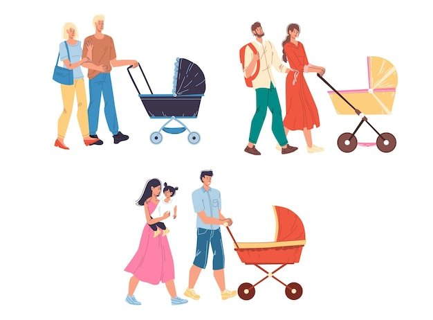 Set of flat cartoon happy family characters couples walking outdoor with baby carriage