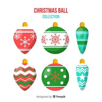 Set of flat christmas balls