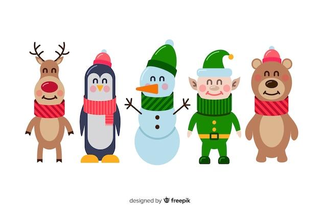 Set of flat christmas characters