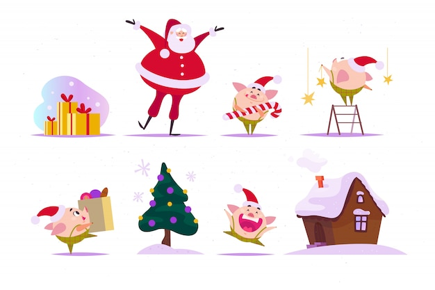 Set of flat christmas elements - funny little pig elf in santa hat, happy santa claus, ginger house, fir tree, set of gift boxes