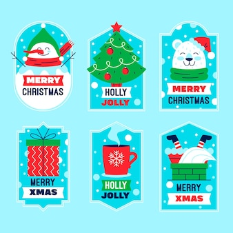 Set di etichette natalizie piatte