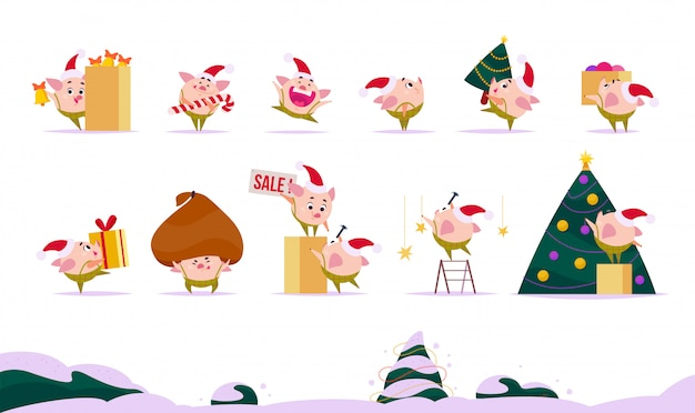 Set of flat christmas pig elf in santa hat in different situations - decorating tree, carry gift box, holding huge bag with presents etc. cartoon style.