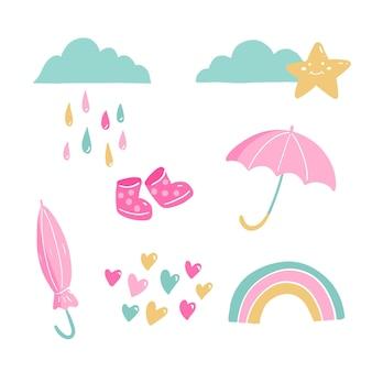 Set of flat chuva de amor decoration elements