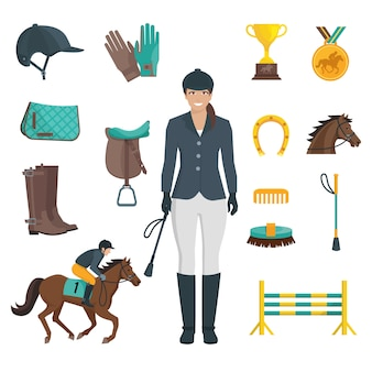 Set of flat color icons with white background depicting jockey equipment and horse