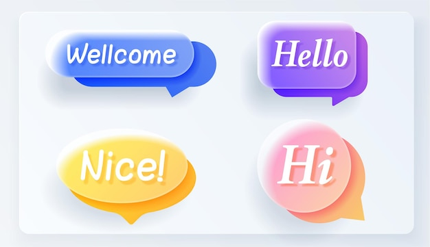 Set of flat colorful bubble realistic glass speech vector. banners, price tags, stickers, posters, badges. isolated on white background.