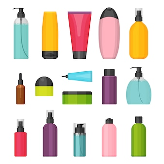 Set of flat colorful cosmetic bottles