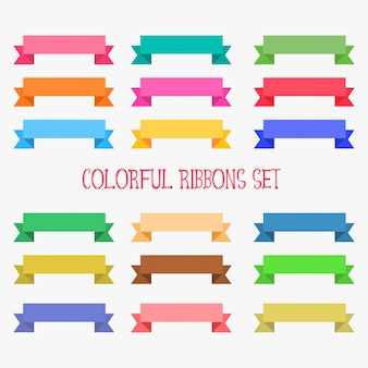 Set of flat colorful ribbons