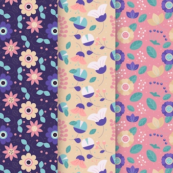 Set of flat colorful spring patterns