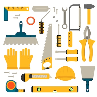 Set of flat construction tools vector.