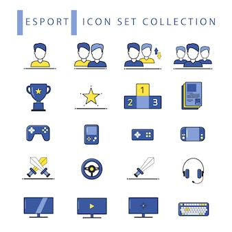 Set of flat cyber e sport icon set collection